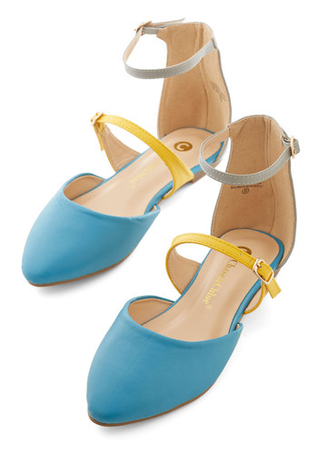 Sunny Honey Flat - Flat, Faux Leather, Blue, Yellow, Solid, Daytime Party, Colorblocking, Good, Strappy, Grey