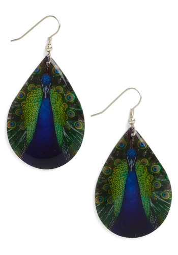 Poetic Plumage Earrings - Blue, Multi, Print with Animals, Blue