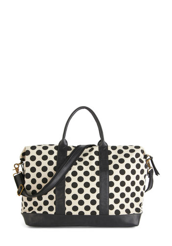 Travel Bug Weekend Bag - White, Polka Dots, Urban, Nifty Nerd, Black, Travel, Press Placement