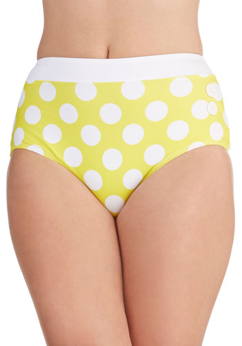 Seasons of the Sun Swimsuit Bottom - Yellow, White, Polka Dots, Buttons, Trim, Beach/Resort, Rockabilly, Pinup, Vintage Inspired, 30s, 40s, 50s, High Waist, Summer, Exclusives, Nautical, Americana, Press Placement