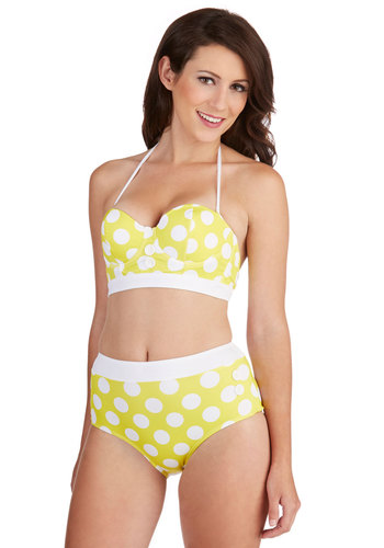 Seasons of the Sun Swimsuit Top - Yellow, White, Polka Dots, Buttons, Trim, Beach/Resort, Rockabilly, Pinup, Vintage Inspired, 30s, 40s, 50s, Halter, Summer, Exclusives, Nautical, High Waist, Americana, Press Placement