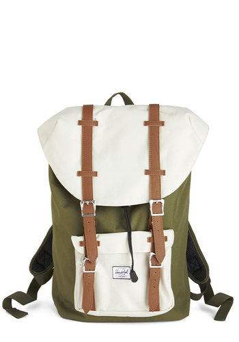 Out in the Field Backpack by Herschel Supply Co. - Green, Tan / Cream, Solid, Rustic, Colorblocking, Buckles, Woven, White, Travel, Scholastic/Collegiate