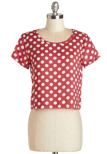 Easy to Spot Top in Red - Short, Woven, Red, White, Polka Dots, Work, Rockabilly, Pinup, Vintage Inspired, 80s, Short Sleeves, Red, Short Sleeve, Variation, Cropped, Statement