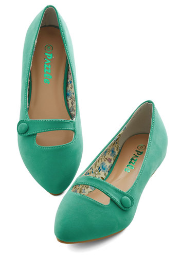 Morning Amour Flat in Green - Flat, Green, Solid, Buttons, Work, Casual, Daytime Party, Minimal, Good, Variation