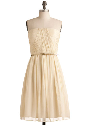 Time of My Life Dress in Candlelight - Short, Chiffon, Woven, Cream, Solid, Ruching, Special Occasion, Wedding, Graduation, Bride, Homecoming, A-line, Strapless, Better, Belted, Prom, Variation, Full-Size Run