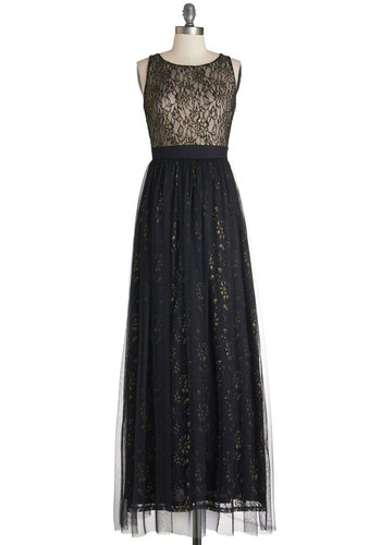 Stardust Melody Dress - Black, Gold, Lace, Special Occasion, Prom, Maxi, Sleeveless, Woven, Better, Scoop, Tulle, Lace, Long, Full-Size Run, Wedding, Holiday Party, Bridesmaid, Homecoming