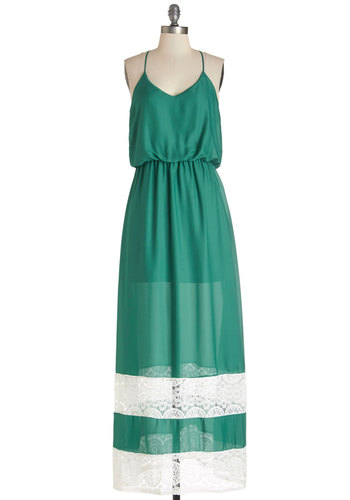 Pine-ly Tuned Dress - Green, White, Solid, Lace, Casual, Maxi, Summer, Woven, Good, Scoop, Long, Beach/Resort, Spaghetti Straps