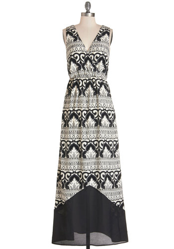 Dusk Dinner Party Dress - Black, White, Print, Casual, Beach/Resort, Maxi, Sleeveless, Summer, Woven, Better, V Neck, Long