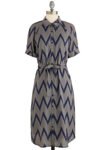 Design Lesson Dress by Tulle Clothing - Blue, Chevron, Buttons, Belted, Casual, Short Sleeves, Woven, Better, Collared, Tan / Cream, Shirt Dress