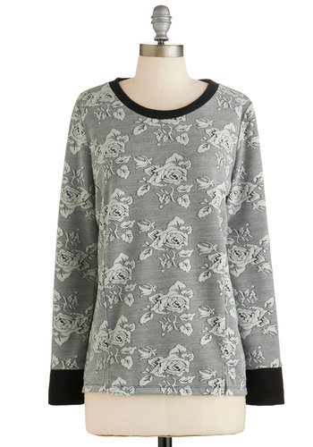 Sunday Off Sweatshirt by Jack by BB Dakota - Long Sleeve, Grey, Black, Floral, Casual, Long Sleeve, Grey, Knit, Scholastic/Collegiate, Work