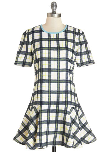Highest Achievement Dress - Blue, Tan / Cream, Plaid, Trim, Casual, Drop Waist, Short Sleeves, Woven, Better, Scoop, Mid-length, Scholastic/Collegiate