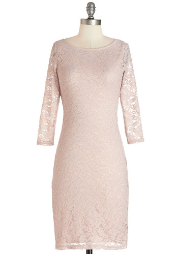 Flair Enough Dress - Blush, Solid, Lace, Party, 3/4 Sleeve, Knit, Lace, Mid-length, Backless, Pastel, Press Placement, Sheath, Girls Night Out, Valentine's