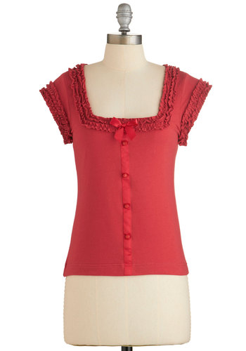Let's Get Baking! Top in Cherry by Effie's Heart - Red, Solid, Bows, Buttons, Rockabilly, Pinup, Red, Short Sleeve, Ruffles, Vintage Inspired, 50s, Cap Sleeves, Variation, Cotton, Mid-length