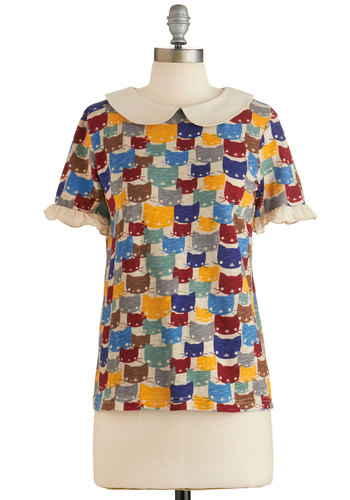 Purr-fect Pallette Top - Multi, Short Sleeve, Multi, Print with Animals, Peter Pan Collar, Work, Quirky, Short Sleeves, Collared, Cats, Critters, Mid-length