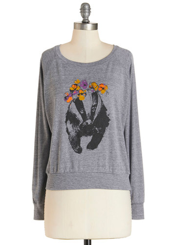 Badger to the Bone Sweatshirt - Mid-length, Knit, Grey, Print with Animals, Casual, Quirky, Critters, Sweatshirt, Long Sleeve, Fall, Grey, Long Sleeve, Scoop