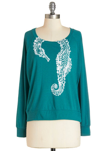 Happily Ever Estuary Top - Green, Long Sleeve, Mid-length, Knit, Green, Print with Animals, Casual, Quirky, Critters, Long Sleeve, Nautical, Scoop