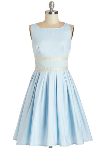 Convivial Pursuit Dress in Powder Blue - Blue, Solid, Pleats, Fit & Flare, Sleeveless, Woven, Better, Boat, Mid-length, Cotton, Special Occasion, Prom, Vintage Inspired, 50s, 60s, Pastel, Variation, Full-Size Run, Daytime Party