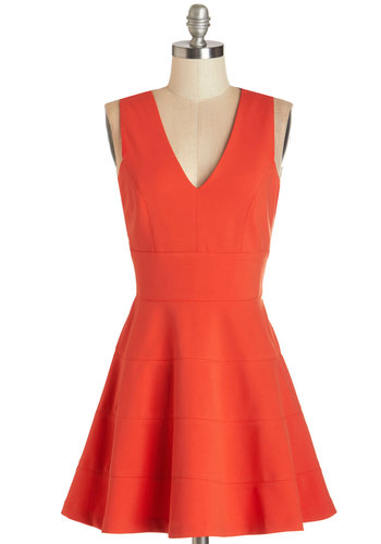Let's Swing Together Dress - Red, Solid, Special Occasion, Party, A-line, Sleeveless, Better, V Neck, Short, Knit