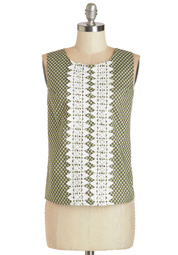 Advanced Geometry Top - Short, Woven, Green, White, Print, Crochet, Work, Vintage Inspired, 50s, Sleeveless, Green, Sleeveless, 60s