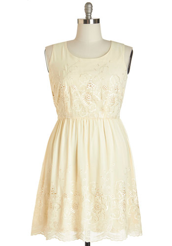Natural Optimist Dress in Plus Size - Woven, Cream, Solid, Embroidery, Casual, A-line, Tank top (2 thick straps), Better, Scoop, Scallops