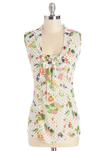 South Florida Spree Top in Flora - Multi, Sleeveless, Sheer, Woven, Multi, Green, Pink, White, Polka Dots, Floral, Tie Neck, Work, Daytime Party, Sleeveless, Spring, Summer, Variation, Mid-length
