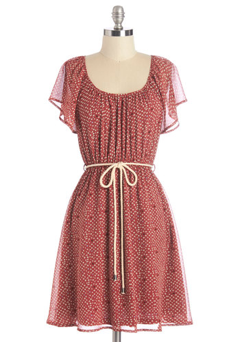 Lady in the Spotlight Dress - Red, Tan / Cream, Polka Dots, Belted, Casual, Beach/Resort, Boho, Vintage Inspired, 70s, A-line, Short Sleeves, Summer, Woven, Good, Scoop, Mid-length, Festival