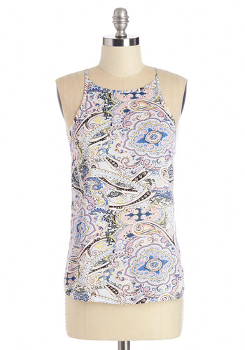 Merry Visionary Top in Pastels - Mid-length, Woven, Multi, Blue, Pink, Print, Pastel, Spaghetti Straps, Summer, Multi, Sleeveless, Variation