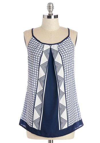 Coastal Breeze Top - Mid-length, Woven, White, Print, Daytime Party, Beach/Resort, Spaghetti Straps, Summer, Blue, Sleeveless, Blue