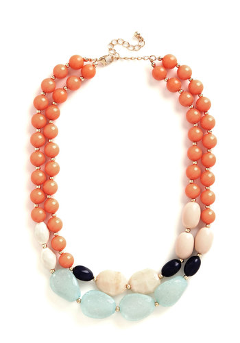 Bevy of Baubles Necklace - Coral, Solid, Beads, Casual, Boho, Darling, Spring, Summer, Tan / Cream, Mint, Statement