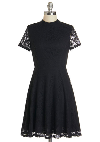 Poised at the Podium Dress - Black, Solid, Lace, Party, A-line, Short Sleeves, Summer, Lace, Good, Sheer, Knit