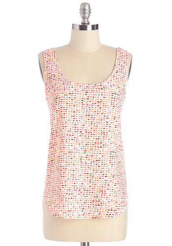 Prismatic Sprinkles Top - Multi, Sleeveless, Mid-length, Woven, Multi, Red, Green, Purple, Tan / Cream, White, Print, Casual, Sleeveless, Summer, Scoop