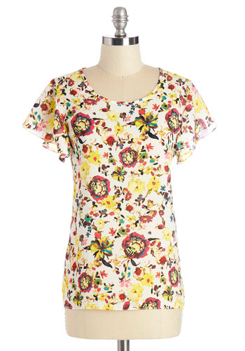 Peppy Positivity Top in Creme - Woven, Multi, Red, Yellow, White, Floral, Work, Daytime Party, Short Sleeves, Summer, Multi, Short Sleeve, Variation, Scoop