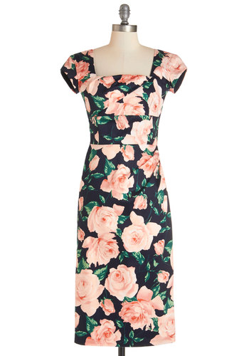 Styling Speech Dress in Roses - Multi, Floral, Daytime Party, Cap Sleeves, Knit, Better, Variation, Cocktail, Valentine's, Sheath, Long
