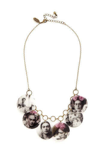 Fun and Fancy Frida Necklace - Multi, Chain, Boho, Scholastic/Collegiate, Darling, Nifty Nerd, Gold, Novelty Print