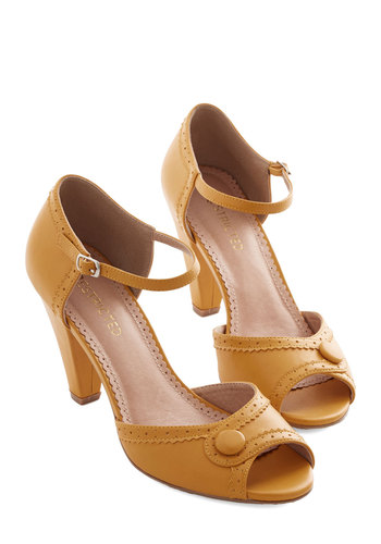 Marvelous Maven Heel in Marigold by Restricted - Yellow, Solid, Buttons, Prom, Wedding, Party, Daytime Party, Vintage Inspired, 20s, Better, Peep Toe, Variation, 30s, Exclusives