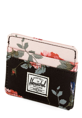Funds and Roses Wallet by Herschel Supply Co. - Black, White, Multi, Floral, Travel