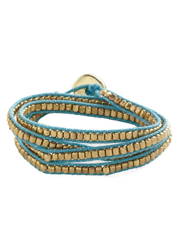 Wrapped Up in Winsome Bracelet - Blue, Solid, Beads, Trim, Festival, Gold