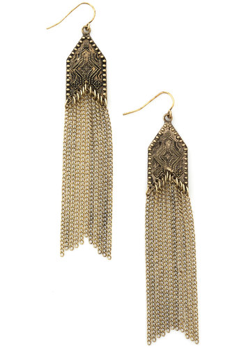 Bohemian Harmony Earrings - Solid, Tassels, Cocktail, Girls Night Out, Urban, Gold, Chain, Fall, 70s