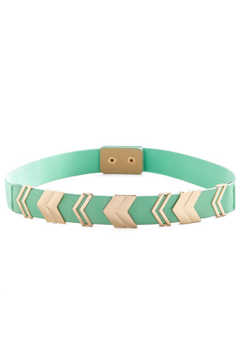 Chevron the Right Path Belt in Mint - Mint, Boho, Pastel, Darling, Festival, Gold, Chevron, Variation