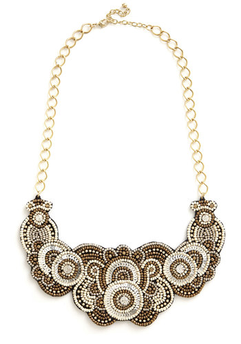 A Sparkling Statement Necklace - Silver, Solid, Chain, Party, Casual, Boho, Statement, Urban, Festival, Fall, Winter, Gold, Gold