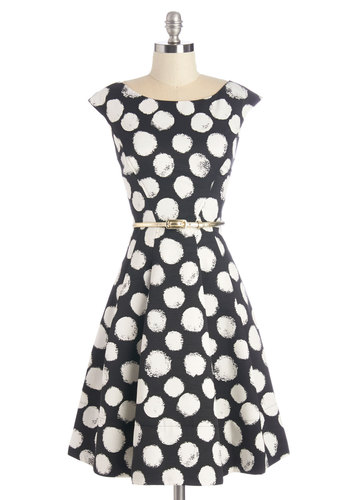 Beyond a Shadow of a Dot Dress - Black, White, Polka Dots, Casual, Vintage Inspired, 50s, A-line, Cap Sleeves, Woven, Better, Boat, Pockets, Belted, Daytime Party