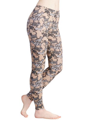 The Time is Meow Leggings by Nooworks - Skinny, Mid-Rise, Brown, Cotton, Knit, Tan, Print with Animals, Casual, 80s, 90s, Cats, Best, Ankle, Vintage Inspired