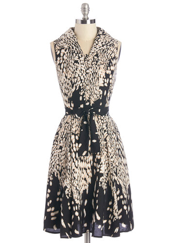 Art Festival Fun Dress - Multi, Animal Print, Buttons, Belted, Casual, A-line, Sleeveless, Woven, Good, Collared, Mid-length