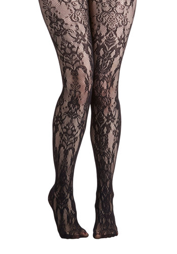 Novel Signing Tights - Black, Paisley, Statement, Steampunk, Sheer, Knit, Lace, Party