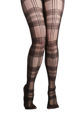 Scholar of Style Tights - Black, Plaid, Quirky, Nifty Nerd, Scholastic/Collegiate, Sheer, Fall, Party