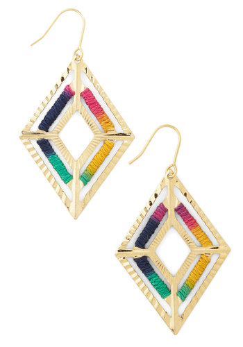 Rhombus Among Us Earrings - Multi, Solid, Party, Casual, Boho, Urban, Festival, Gold