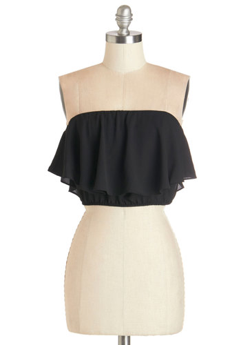 Sway What You Think Top - Short, Chiffon, Woven, Black, Solid, Party, Girls Night Out, Daytime Party, Beach/Resort, Cropped, Tube, Summer, Black, Sleeveless, Ruffles