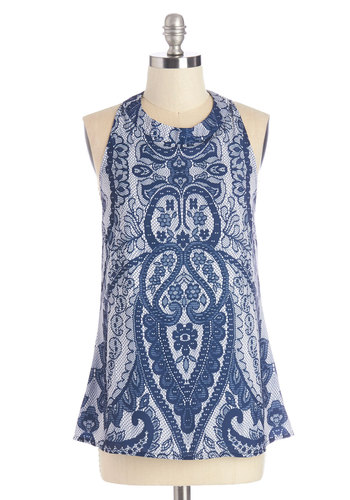 Art of Entertaining Top - Mid-length, Woven, Blue, White, Paisley, Cutout, Casual, Sleeveless, Crew, Blue, Sleeveless