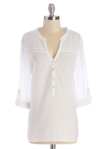 Windfall of Wishes Top - Mid-length, Sheer, Woven, White, Solid, Eyelet, Casual, Boho, Long Sleeve, Spring, Summer, White, Long Sleeve, Buttons