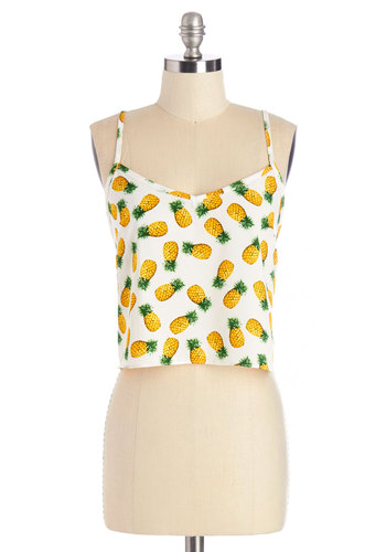 Pine-Dapple Tank - Short, Woven, Yellow, Novelty Print, Daytime Party, Beach/Resort, Fruits, Cropped, Spaghetti Straps, Summer, White, Sleeveless, White